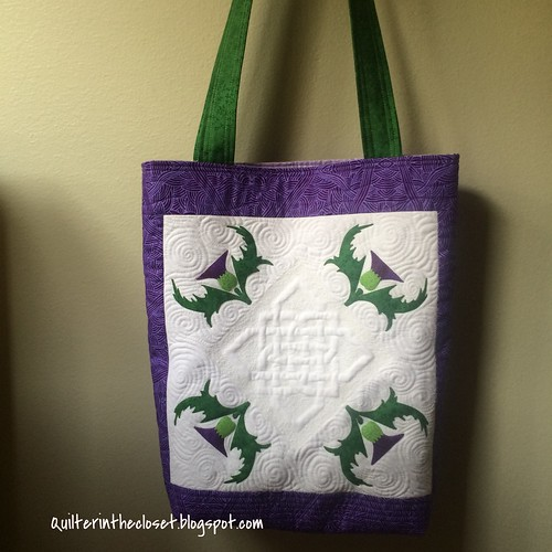 Finished tote for Outlander craft swap