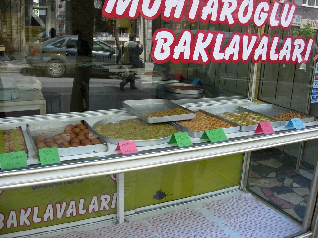Tienda de Baklava. Dulces típicos turcos