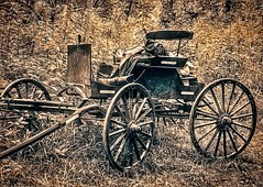Saw this Amish buggy by the Mohican River in Ohio. The young men with the cart were swimming in the river. Thought this edit looked nice. #mohicanvalleytrail #travel #amishcountryohio #amishbuggy #visitohio #bridgeofdreams #danvilleoh