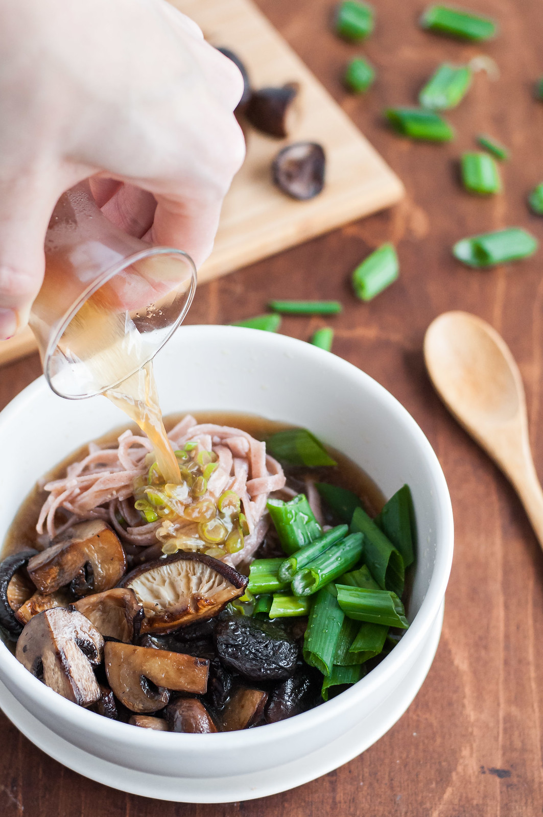 Roasted mushroom noodle bowls with homemade broth