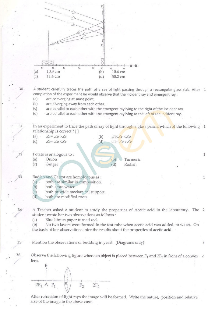 CBSE Class 10 Question Paper Science (SA2)