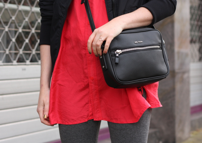 outfit: silk blouse, cross body bag, leggings