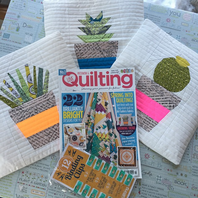 Hey guys, I made some more Succulents 💗 and you can get the patterns in Issue 19 of @lovequiltingmag (BTW, check what's on the cover 😁). The free binding clips gift in my favorite color are like icing on the cake 😊Patterns for my ori