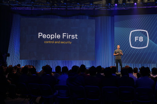 Mark Zuckerberg on stage at Facebook's F8 Developers Conference 2015
