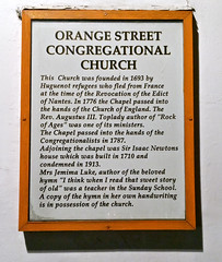 Photo of Orange Street Congregational Church, London and Isaac Newton white plaque