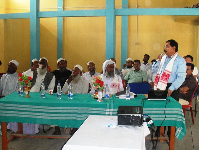 Dr Ali interacting with some religious leaders and local leaders in a rural village of Assam's Morigaon district.