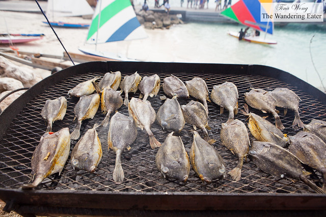 "Grilled ""shale fish"" (puffer fish)"