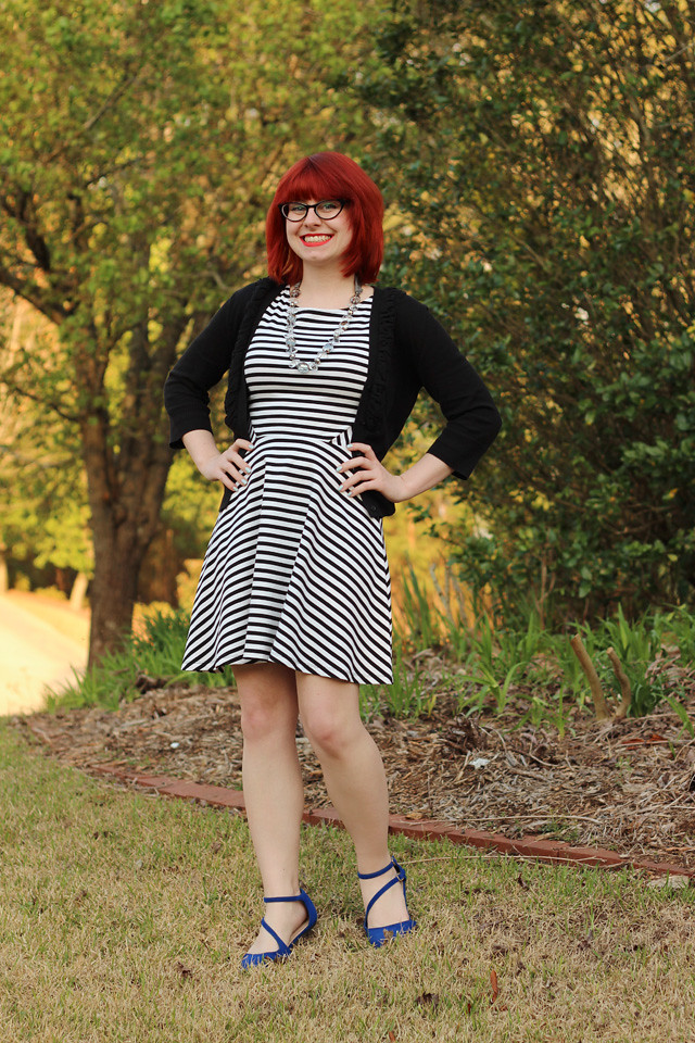 Business Casual Work Outfit: Striped Dress and Blue Flats