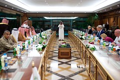 U.S. Secretary of State John Kerry sits across from Crown Prince Mohammed bin Nayef, at the Saudi Ministry of Interior in Riyadh, Saudi Arabia, on May 6, 2015, at the outset of a meeting and working dinner with him, Adel Al-Jubeir, the newly named Saudi Foreign Minister, and other government leaders.  [State Department photo/ Public Domain]