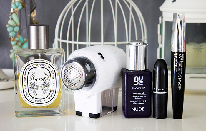 March Favourites: MAC Syrup, NUDE ProGenius Oil, Diptyque Olene, Clothes Defuzzer and Avon Super Extend Winged Out Mascara