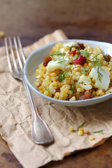 giant couscous with haddock and dill