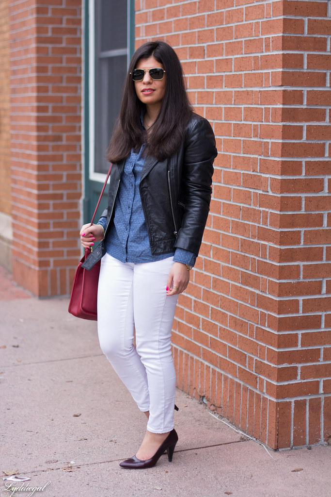 chambray shirt, white jeans, black leather jacket-3.jpg