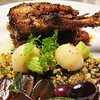 Slow Roasted Duck with Spices, Black Grapes, 7-grains, Baby Turnips  #lunchprixfixe #duck #spices #grains #grapes by clbeischer