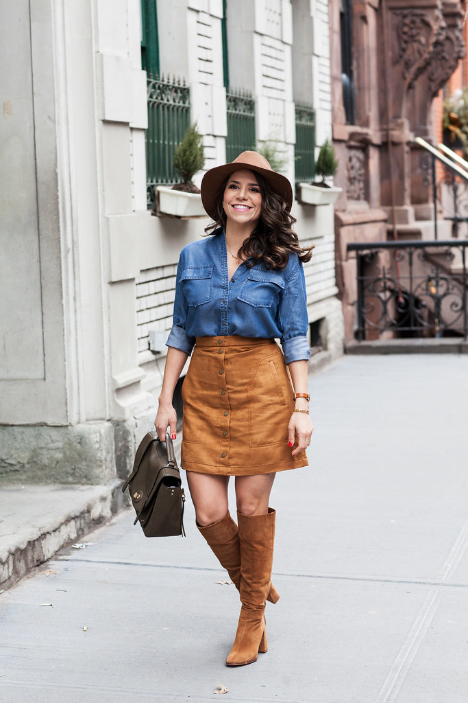 faux suede skirt banana republic denim shirt coach bag target hat h&M skirt zara suede boots nyc fashion blogger what to wear in the spring how to wear a suede skirt corporate catwalk