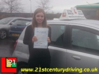 Alicia Copland passes her driving test in grimsby with 21st Century Driving