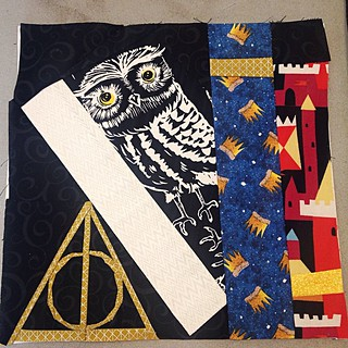 This one was a doozy!  #ProjectofDoom #block3 #deathlyhallows #WeasleyisOurKing #castlepeeps #PoD2015 #pod #ProjectofDoom2015 #owllove #owls #bookshelfquilt #quilting #quiltalong #sewing #stitchitout #quiltblock #hplove #HarryPotter #potterhead #elderwand