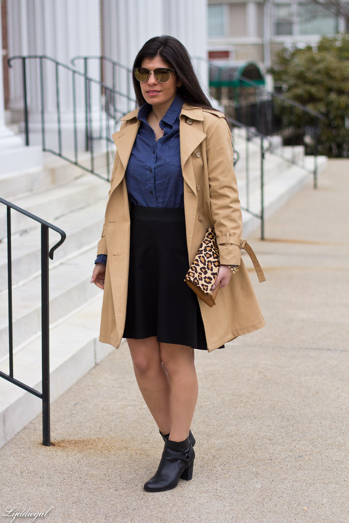 blue linen shirt, black skirt, trench coat-2.jpg