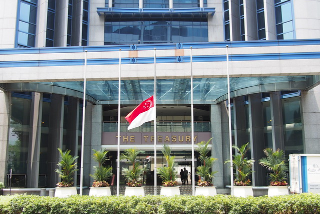 flags flying at half-mast at The Treasury in Singapore, 23 March 2015, death of Lee Kuan Yew