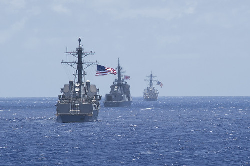 WATERS NEAR GUAM - Arleigh Burke-class guided-missile destroyer USS Sampson (DDG 102) (left), Japan Maritime Self-Defense Force ship JS Atago (177) (center), and USS Fitzgerald (DDG 62) maneuver into position for a missile exercise during Multi-Sail 2015.