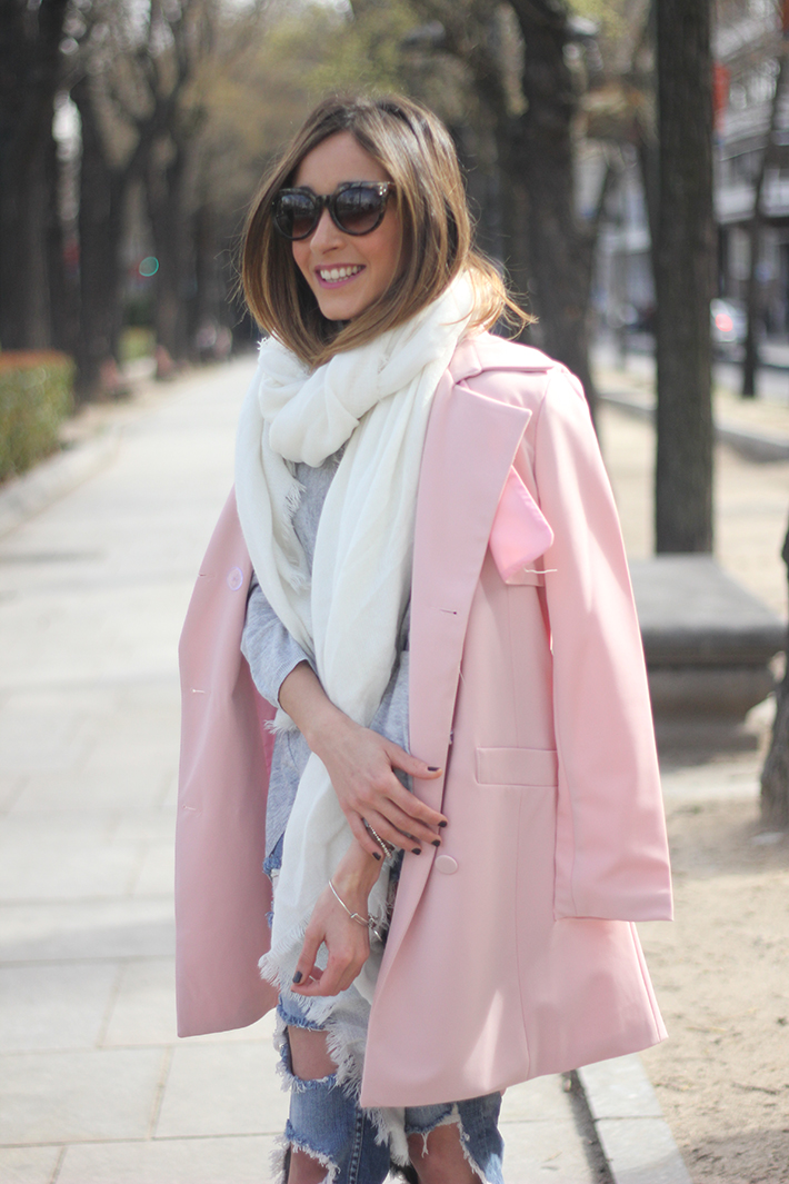 Pink trench & Ripped Jeans16