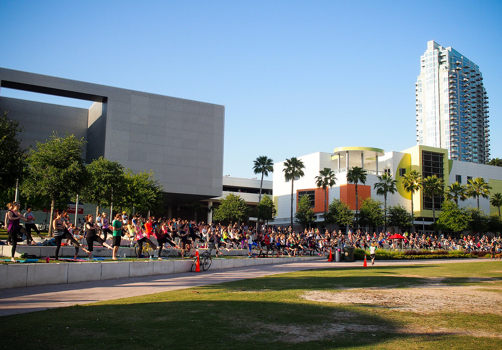Tampa Riverwalk yoga night