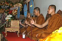 monks chanting at a funeral