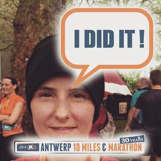 Tien minuten sneller dan gedacht zelf! 😀 #antwerp10miles #runfie.