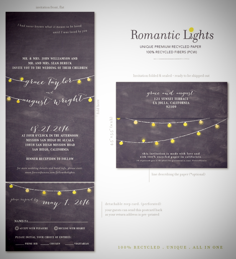 String of Lights Wedding Invitations | Romantic Lights by ForeverFiances