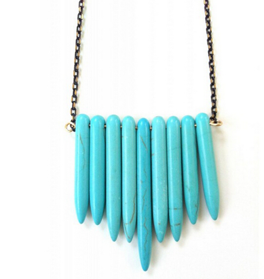Bronze-chain-spike-turquoise-necklace-wholesale-cheap-women-pendant-necklace-dhl-free-shipping