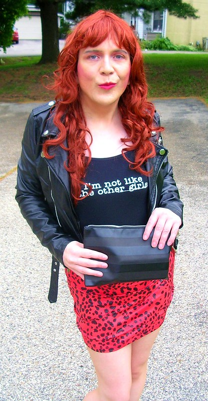 Tank top, leopard print skirt, and leather jacket