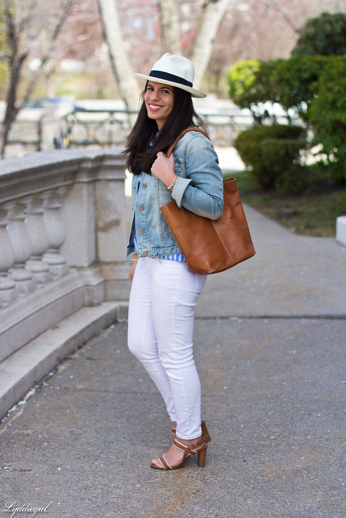 white jeans, striped top, denim jacket, panama hat-3.jpg