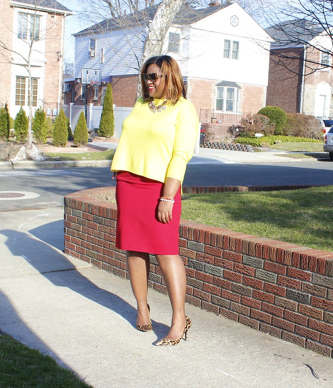 red+skirt+yellow+top+fashion