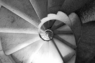 Spiral staircase in la Sagrada Familia in Barcelona, Spain