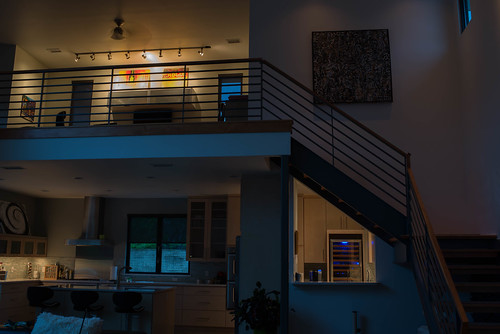 Our kitchen and loft on a dark rainy morning