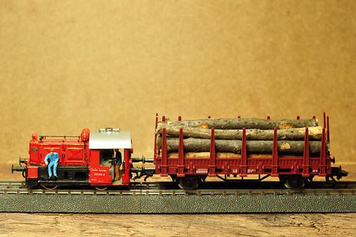 Modellbau H0 KÖF mit Rungenwagen Baumstämme Äste Waldspaziergang Basteln mit Naturmaterialien Foto Brigitte Stolle
