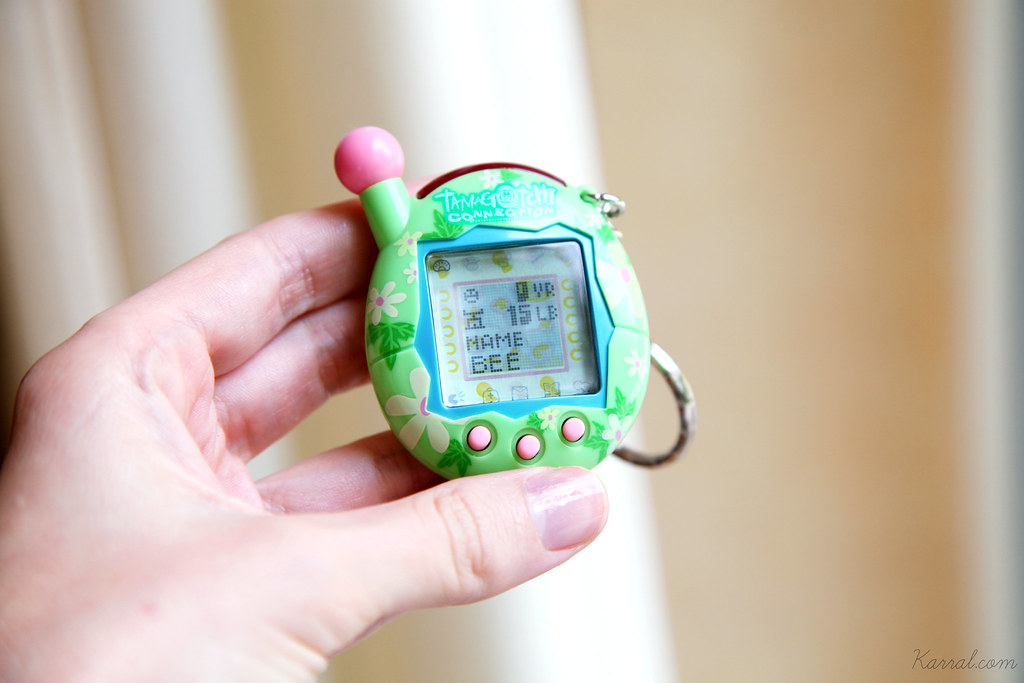Tamagotchi Connection V4 name weight age stats screen green pink floral shell design