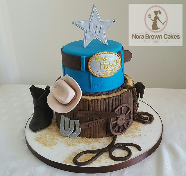 40th Western Cowboy Birthday Cake by Nora Brown of NORA BROWN CAKES