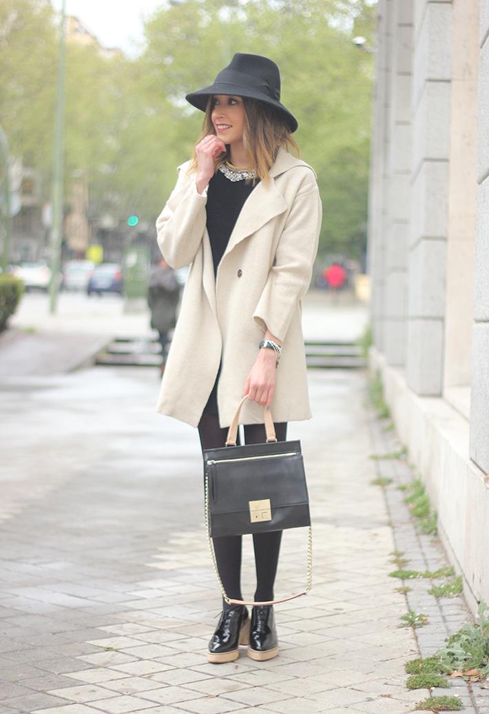 Beige Jacket Choies Black Skirt Suiteblanco Black Hat Uterqüe02
