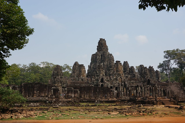 The Bayon temple in the middle of Angkor Thom