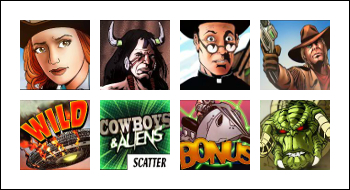 free Cowboys and Aliens slot game symbols