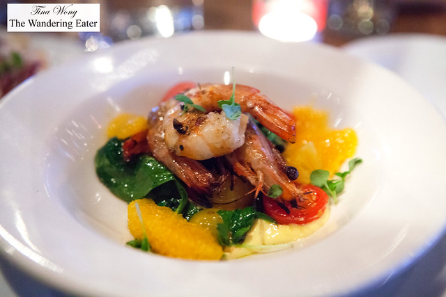 Grilled Tiger Prawns saffron aioli, tomatoes, pea sprouts, orange  segments