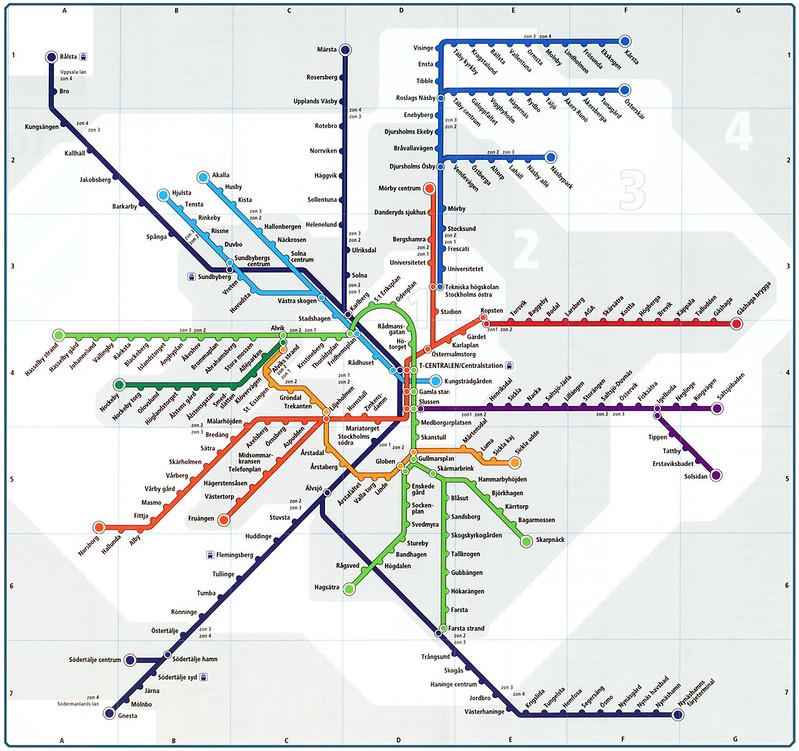 瑞典斯德哥尔摩地铁线路图