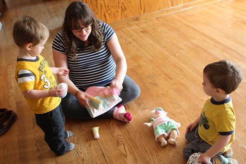 Elliott's New Baby, Laura, and Diaper Bag