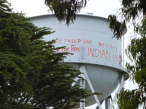 Indian graffiti on water tower, Alcatraz