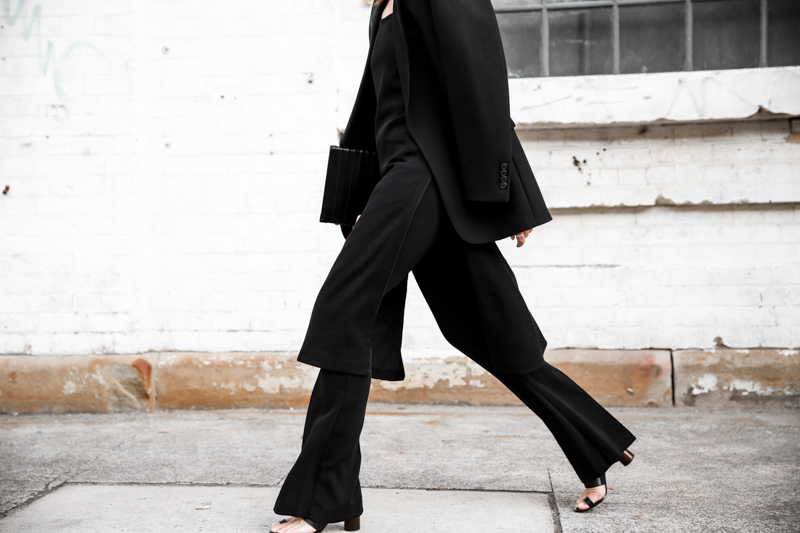 modern legacy fashion blog street style all black fashion week flares dress over pants (1 of 1)