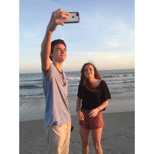 ocean sunset beach square nc teenagers teens northcarolina squareformat atlanticocean selfie atlanticbeach iphoneography instagramapp uploaded:by=instagram