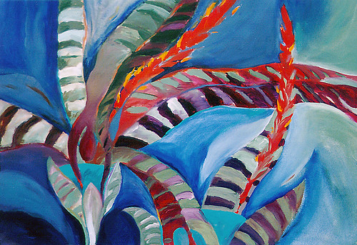 Bromeliad acrylic painting on paper