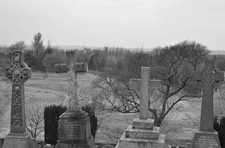 Graves with a distance view of Lancaster Castle