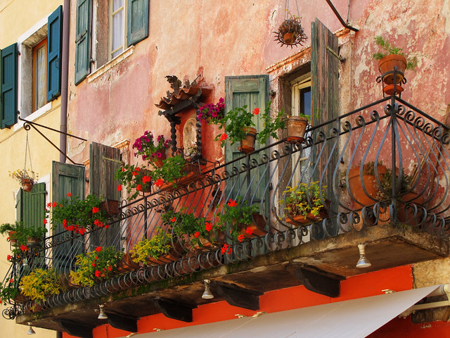Balcony in Torri del Benaco on Lake Garda, Venetien, Italy