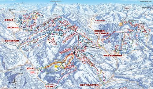 SkiWelt Wilder Kaiser Brixental - mapa sjezdovek